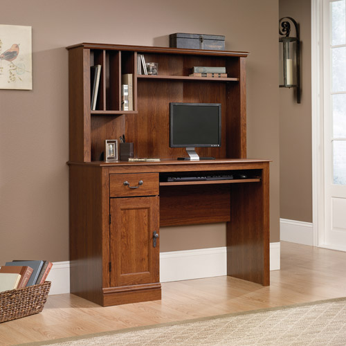 sauder camden county computer desk with hutch planked cherry image 1 of 3