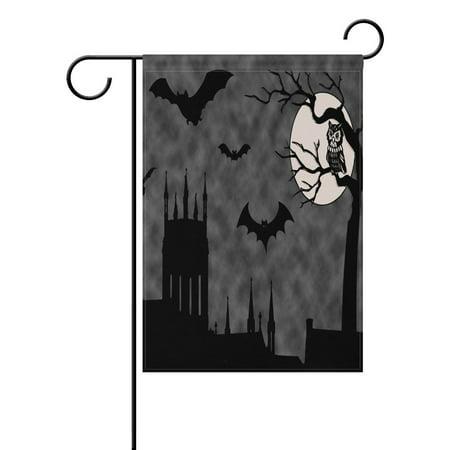 POPCreation Ghost Castle Twilight Halloween Garden Flag 28x40 inches - Castle Flag