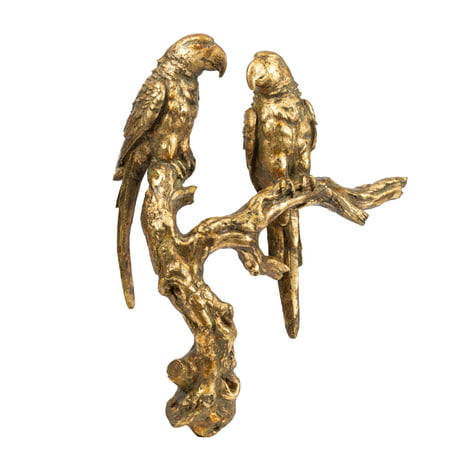A&B Home Antique Gold Bird Sculpture, 10x3.5x13 inches