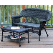 Jeco Wicker Patio Love Seat and Coffee Table Set in Black without Cushion