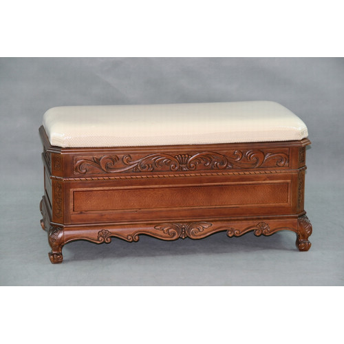 International Caravan Windsor Hand Carved Storage Bench