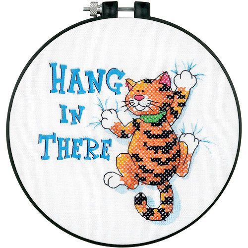 "Dimensions Learn-A-Craft ""Hang In There"" Stamped Cross Stitch Kit, 6"""