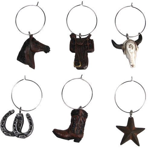 Rivers Edge Products 6-Piece Western Wine Charms