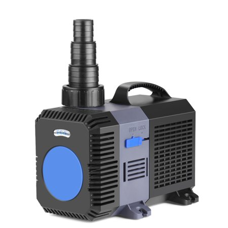 Pond Pump Submersible (2650GPH) Frequency Inline Aquarium Fountain Waterfall Koi Fish Salt Fresh Water Filter with Set of Outlet Adapter ()