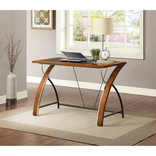 Whalen Payton Computer Desk With Glass Desktop Warm Brown