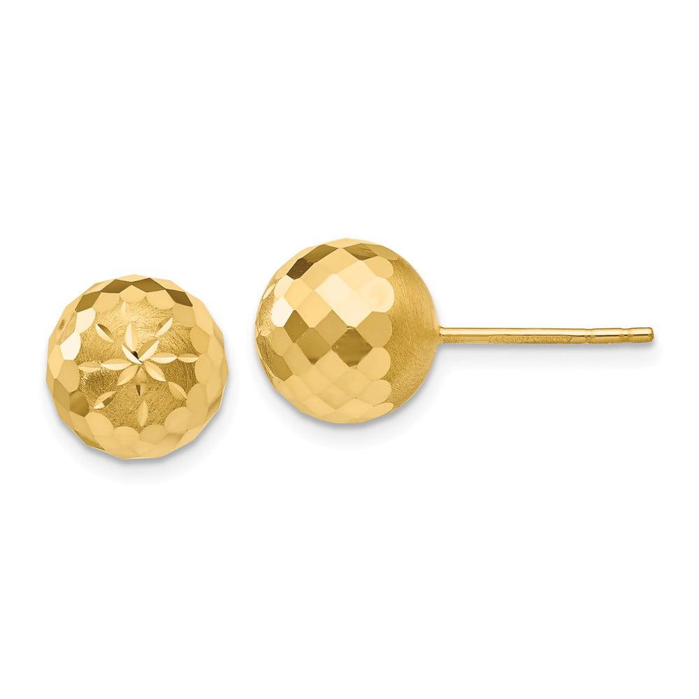 14k Yellow Gold 9mm D/C Mirror Ball Post Stud Earrings