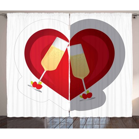 Engagement Party Curtains 2 Panels Set, Toasting Champagne Flute Glasses and Rose Buds on Dashed Heart Icon, Window Drapes for Living Room Bedroom, 108W X 90L Inches, Vermilion Mustard, by Ambesonne Heart Toasting Glasses