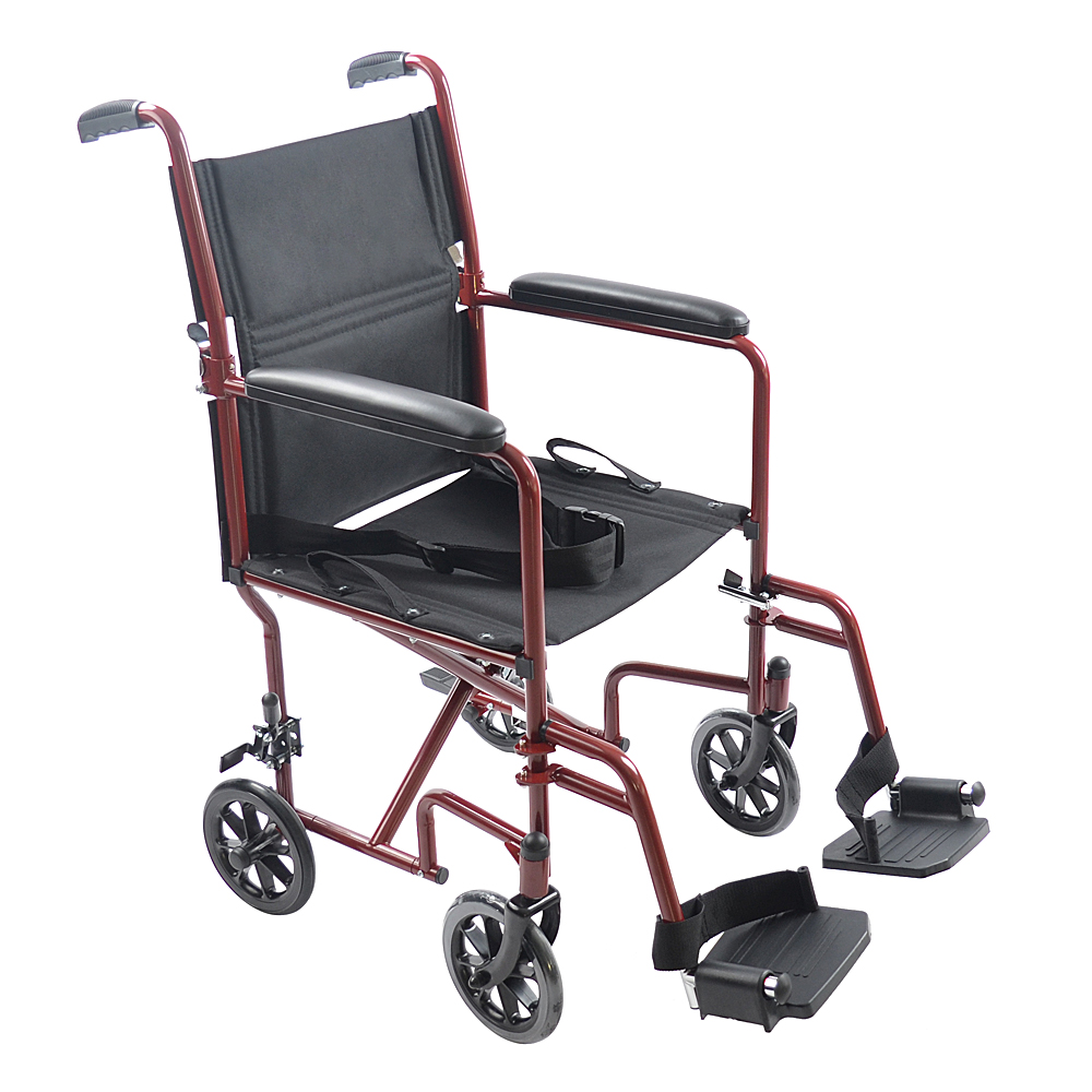 """Ktaxon 19"""" Folding Medical Lightweight Transport Wheelchair with Fixed Full Arms"""