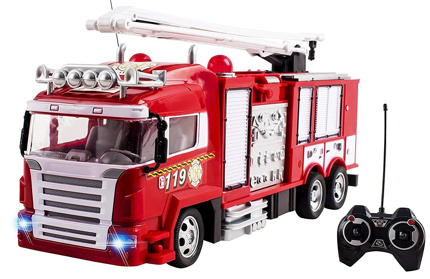 RC Fire Truck Rescue Engine Remote Control Large Kids Toy Fully Functional With Extendable Ladder Music and... by Vokodo
