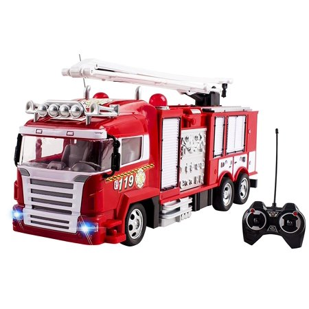 RC Fire Truck Rescue Engine Remote Control Large Kids Toy Fully Functional With Extendable Ladder Music and Flashing Lights Rechargeable Battery Perfect Firetruck Toys for Children Boys And Girls ()
