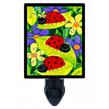 Night Light - Photo Light - Ladybug Flag - Ladybugs - Garden (Ladybug Star Light)