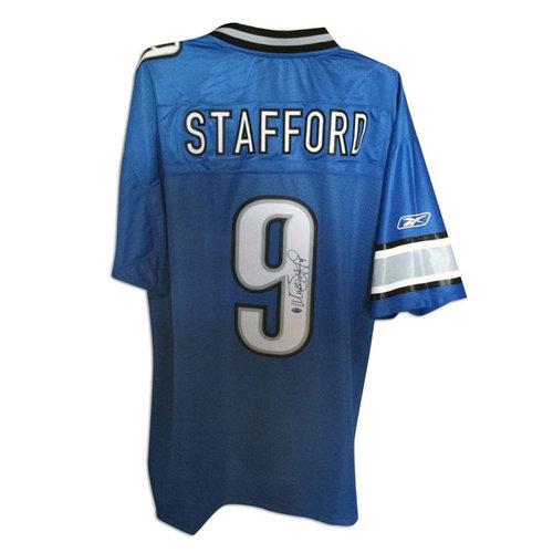 NFL - Matthew Stafford Detroit Lions Autographed Blue Reebok Jersey