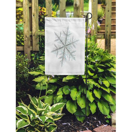 JSDART Ice Real Snowflake Single Stellar Dendrite Crystal Snow White Frost Garden Flag Decorative Flag House Banner 12x18 inch - image 2 of 2
