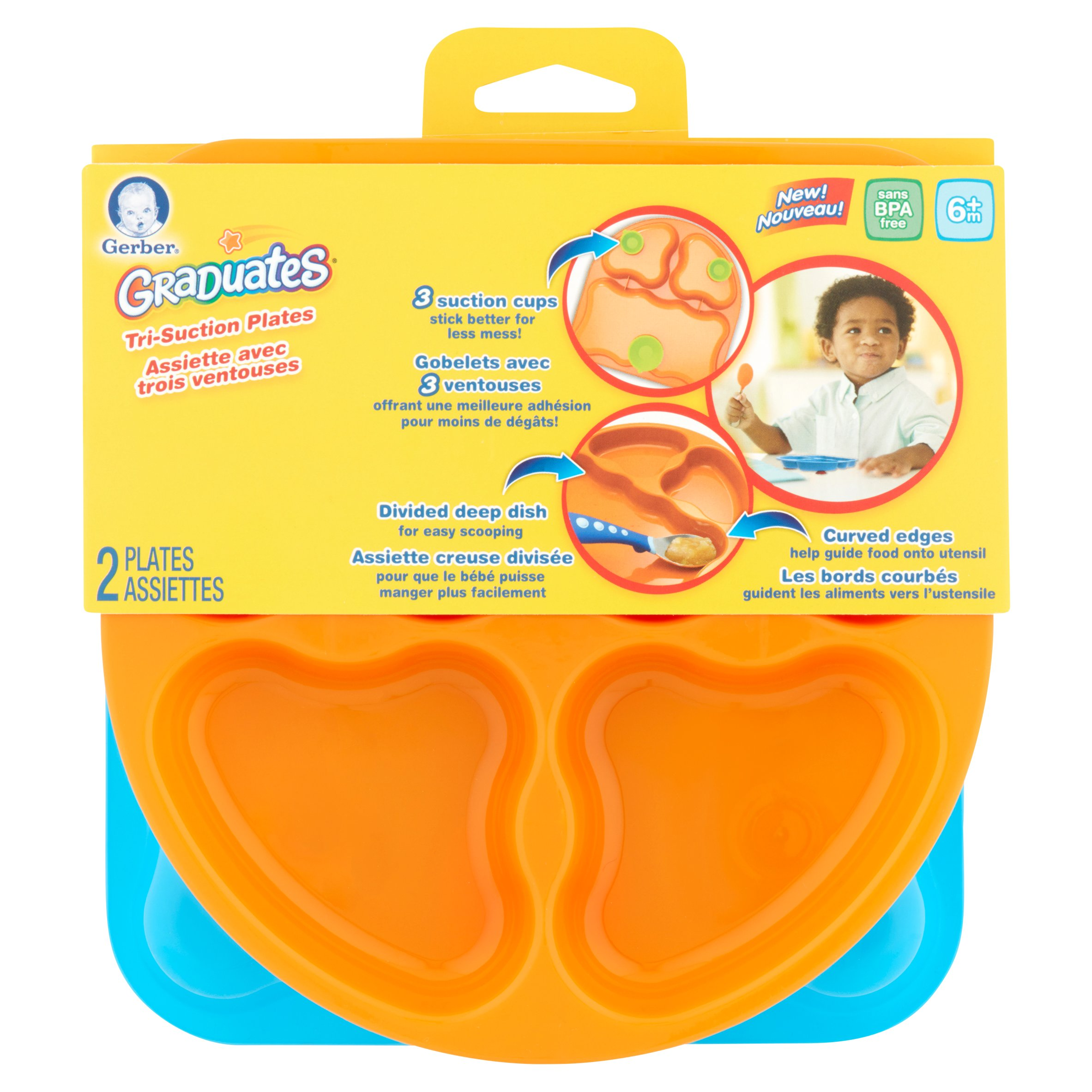 Gerber Graduates Tri Suction Plates 6m+, 2 count
