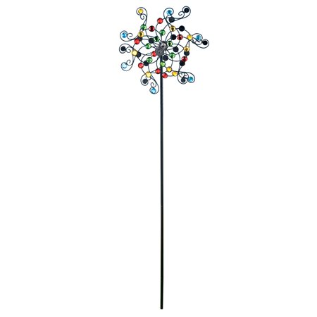 Mirrored Kinetic Wind Spinner Garden Stake with Dual Rotors - Rainbow Wind Spinners