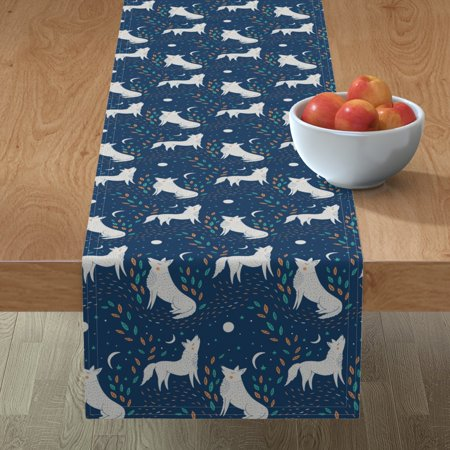 Image of Table Runner Moony Moons Midnight Wolves Wolf Wolf Pattern Cotton Sateen