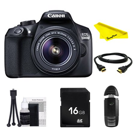 Canon EOS Rebel 1300D DSLR Camera with 18-55mm Lens + SD Card + Buzz-Photo Beginners