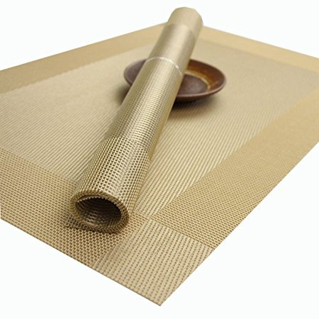 Kidcia placemats for table woven vinyl heat resistant washable stain resistant kitchen pvc - Heat resistant table cloth ...