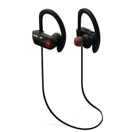 sardonyx sx-918 bluetooth headphones, best wireless sport earphones noise cancelling ipx7 waterproof hd stereo headset w/ mic, secure-fit sweatproof earbuds for gym running workout