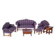 Town Square Miniatures Plaid and Walnut Living Room Set