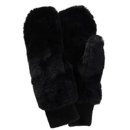 Xcr Womens Mitten - Alexa Rose Women Black Plush Texture Ribbed Cuff Winter Mittens One Size