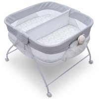 Little Folks Twin EZ Fold Ultra Compact Double Bassinet by Delta Children, Aqua Geo