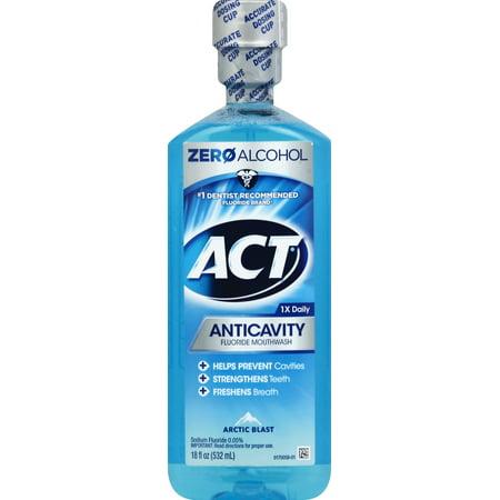 ACT® Anticavity Alcohol Free Arctic Blast Mouthwash, 18oz Act Anticavity Fluoride Rinse Alcohol Free