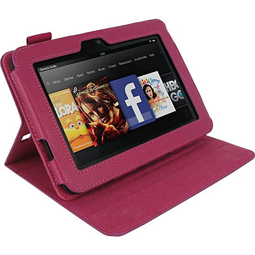 Dual-View Leather Case Cover for Amazon Kindle Fire HD 7-Inch - Magenta