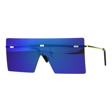 Unique Trendy Flat Panel Rectangular Shield Color Mirror Sunglasses Teal - Teal Sunglasses