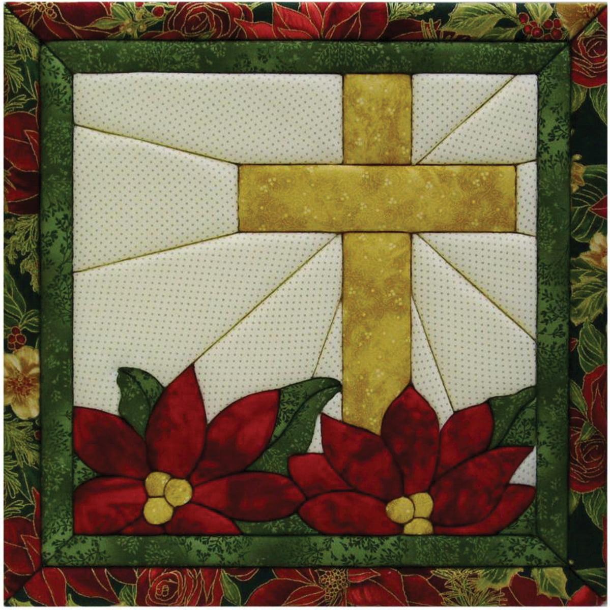 "Poinsettia Cross Quilt Magic Kit-12""X12"""