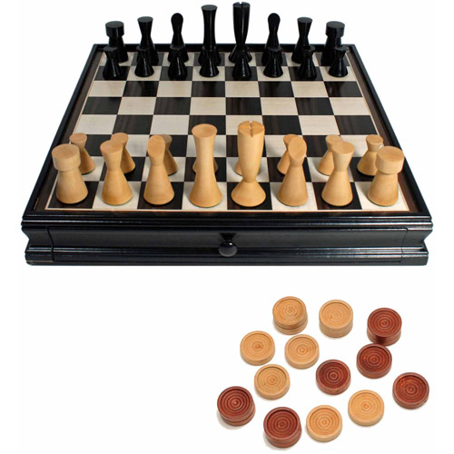 Modern Chess and Checkers Game Set, Weighted Chessmen and Black Stained Board with Storage Drawers by Generic