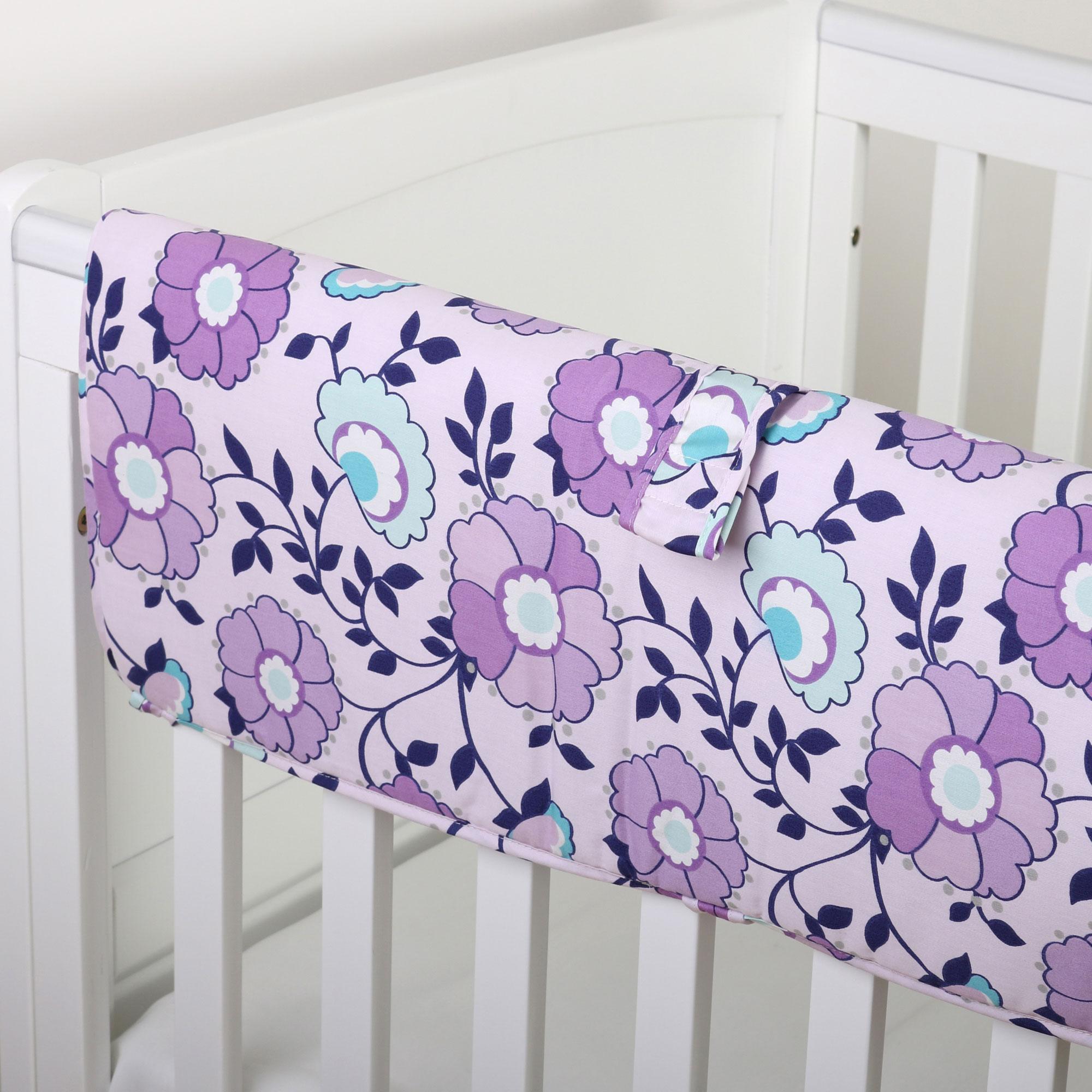 The Peanut Shell Crib Rail Guard - Zoe Crib Bedding Collection - Purple Floral Design