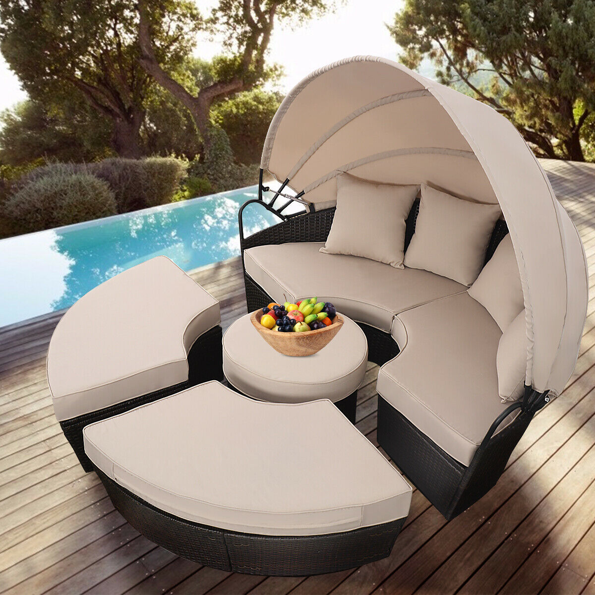 Costway Outdoor Mix Brown Rattan Patio Sofa Furniture ...