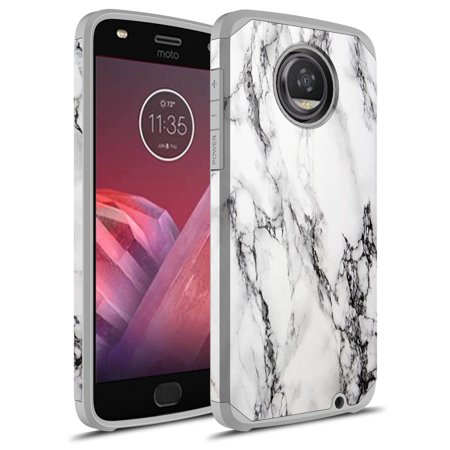 Moto Z2 Play Case, Moto Z Play (2nd Gen.) Case, Rosebono Hybrid Dual Layer Shockproof Hard Cover Graphic Fashion Cute Colorful Silicone Skin Case for Moto Z2 Play - White Marble