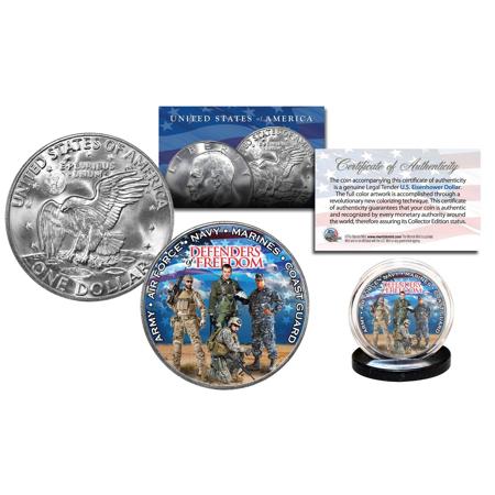 DEFENDERS of FREEDOM U.S. Armed Forces Genuine Tender IKE Eisenhower Dollar Coin Dwight D Eisenhower Dollar Coin