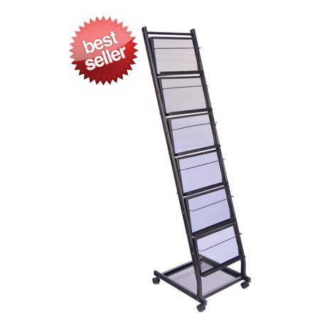 Six Pocket Mobile Literature Display Rack (Small) 6 Wired Shelves Display Storage for Magazines/Literature/Brochures (Trade Show, Show Room, Show (Magazine Literature Display)