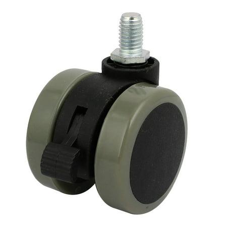 2-inch Diameter M10 Thread Mount PU Plastic Universal Swivel Dual Caster Wheel - image 2 of 2