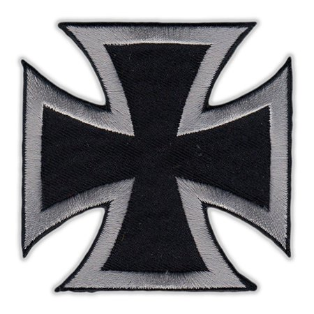 Motorcycle Jacket Embroidered Patch - Maltese Cross (Black, Silver) - Vest, Cut, Leathers - 3