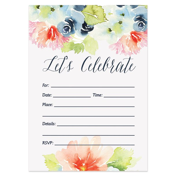 Walmart Com Wedding Invitations: Fill-In Party Invitations With Envelopes ( Pack Of 50