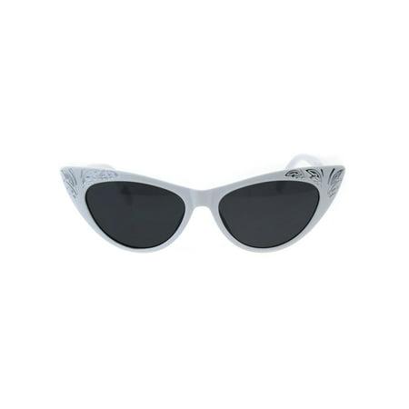 Womens Cat Eye Gothic Bling Engraving Diva Sunglasses White (Bling Cat Eye Sunglasses)