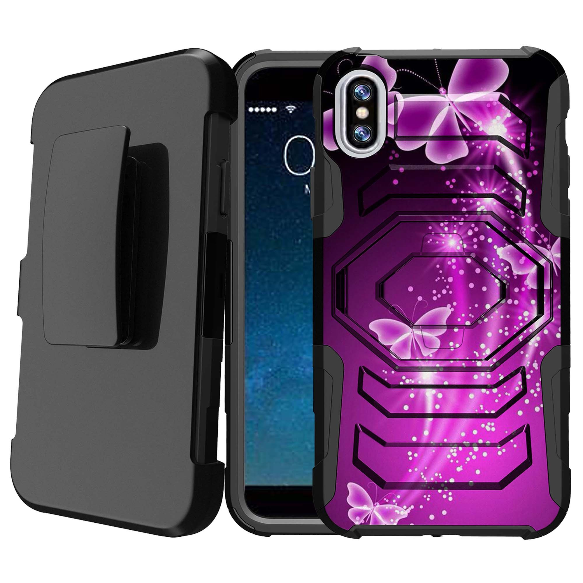 Apple iPhone X Scratch-Resistant Case [Armor Reloaded for iPhone X] Hard-Impact Rugged Swivel Impact Holster Case for iPhone X w/ Locking Kickstand Feature - Hot Purple Butterfly