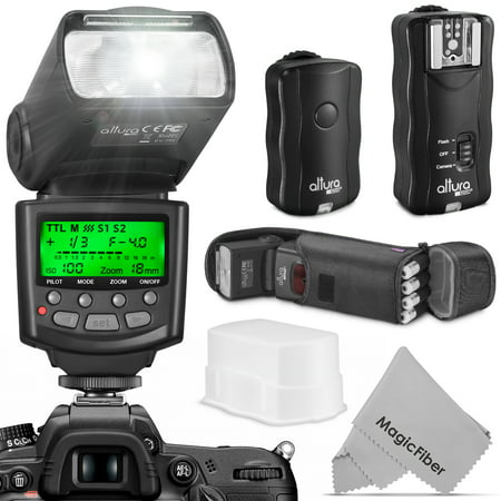 Altura Photo Professional Flash Kit for NIKON DSLR - Includes: I-TTL Flash (AP-N1001), Wireless Flash Trigger Set and Accessories (Flash Trigger Transceiver)