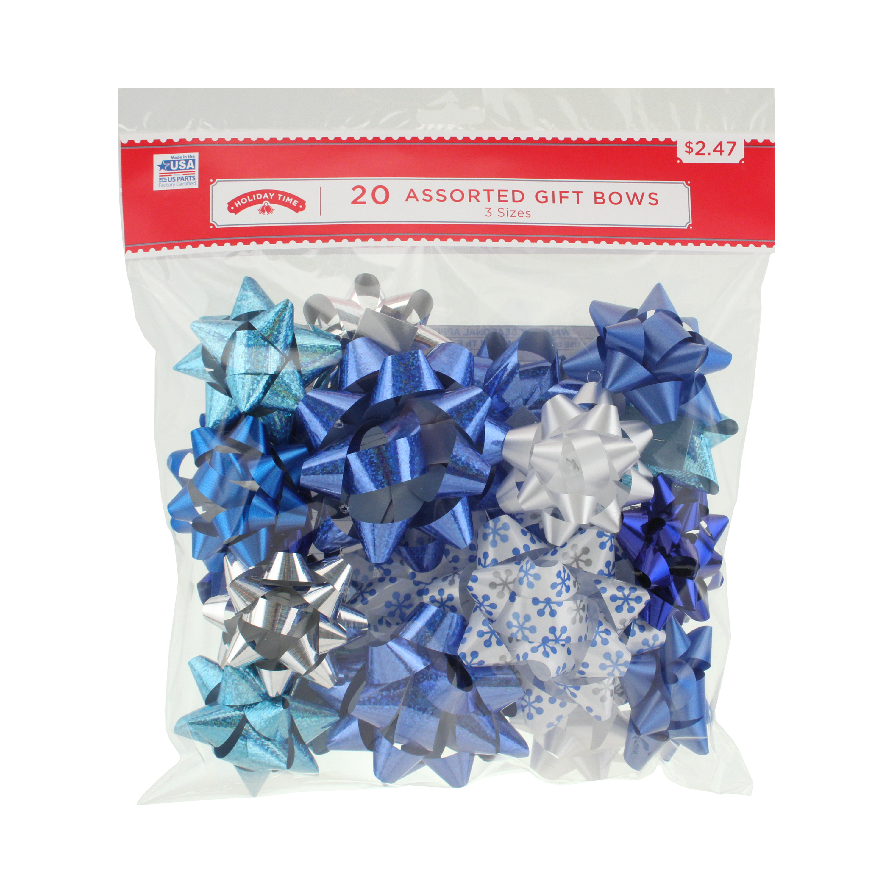 20 COUNT GIFT BOW ASSORTMENT -BLUE/WHITE/SILVER