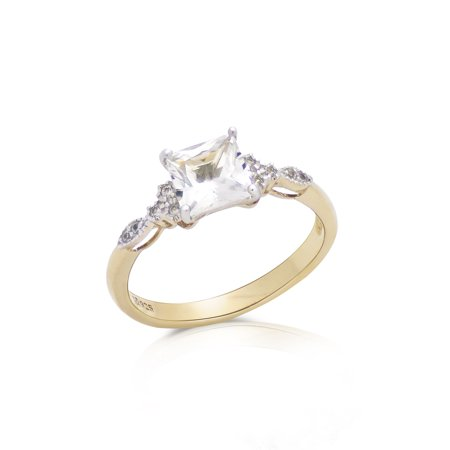 Princess Cut Created White Sapphire Art Deco Engagement Ring with White Topaz Accents in 14K Yellow Gold Plated Sterling Silver Art Deco Engagement Ring Settings