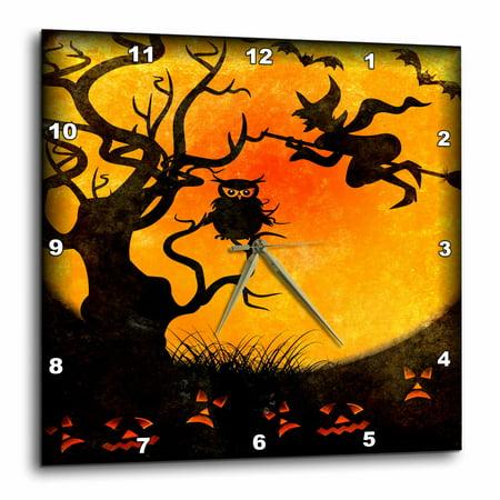 3dRose Halloween Backdrop, Wall Clock, 13 by 13-inch