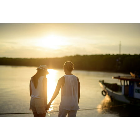 LAMINATED POSTER Woman Scene Couple Sunset Man Romantic Love Poster Print 24 x 36 (Romantic Scent)
