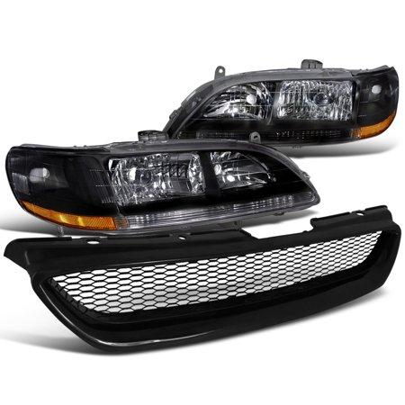 Spec-D Tuning For 1998-2002 Honda Accord Lx Ex Jdm Black Crystal Headlights + Mesh Hood Grille 1998 1999 2000 2001 2002