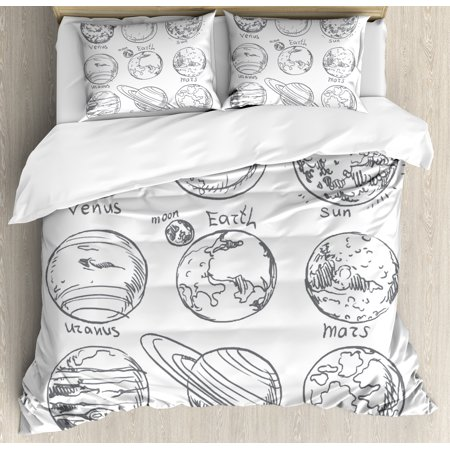 Doodle Duvet Cover (Doodle Duvet Cover Set, Planets of Solar System Sun Mercury Earth Moon Mars Neptune Saturn Jupiter Science, Decorative Bedding Set with Pillow Shams, Black White, by)