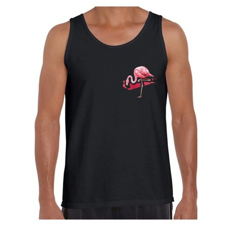 Awkward Styles Flamingo Pocket Tank Top for Men Flamingo Patch Muscle Tank Flamingo Fitness Shirts Flamingo Themed Party Beach Tank Top for Men Summer Party Gifts Flamingo Party Muscle Shirt - Blue Themes For Parties