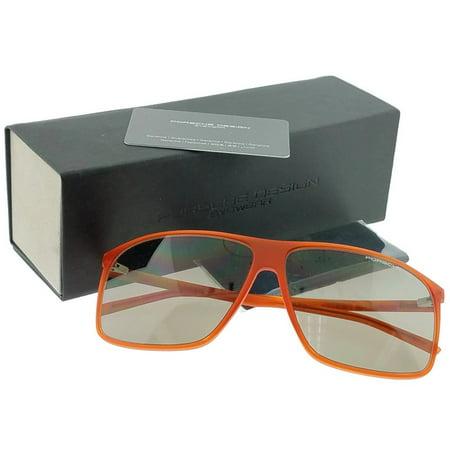 Porsche P8594-C-V578 Rectangular Men's Orange Frame Grey Lens Sunglasses (Porsche Vintage Sunglasses)